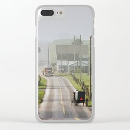 Amish Buggy confronts the Modern World Clear iPhone Case