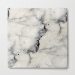 Smoky-White Marble with Black Veins Texture Metal Print