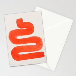 Wiggle Around Mid Century Modern Minimalist Orange Ink Funky Symbol by Ejaaz Haniff Stationery Cards