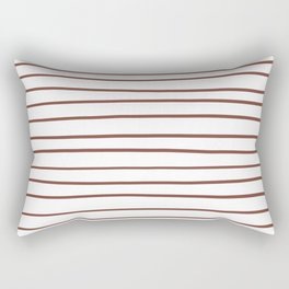 Inspired by Dunn Edwards Spice of Life DET439 Hand Drawn Horizontal Lines on White Rectangular Pillow