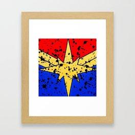 CaptainMarvel Splatter Logo Framed Art Print