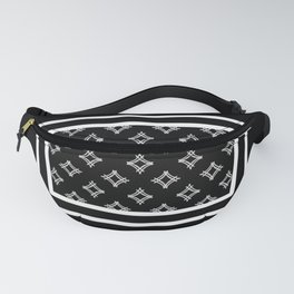 Black and white diamond pattern in a frame on a sophisticated black background  Fanny Pack