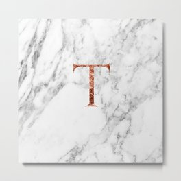 Monogram rose gold marble T Metal Print