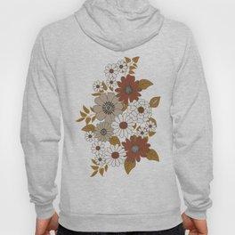 Brown, Orange, and Ivory Retro Flower Pattern Hoody