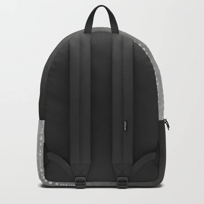 Silver Glamour Faux Glitter on grey Texture Backpack