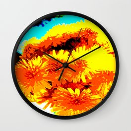 Golden Wildflowers Wall Clock