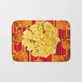 DECORATIVE YELLOW ROSES RED STRIPE PATTERN COLLAGE Bath Mat