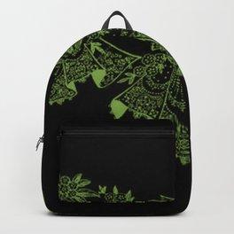 Vintage Lace Hankies Black and Greenery Backpack
