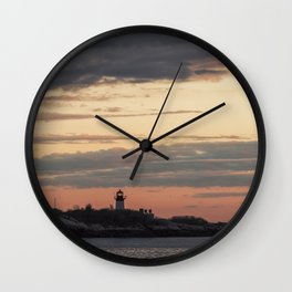 Painted sky over ten pound island light Wall Clock