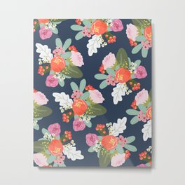 Navy Peach Foral Metal Print