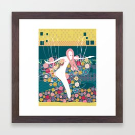 hula hooper on pattern Framed Art Print