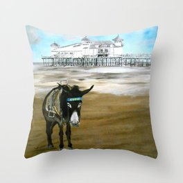 Seaside Donkey Throw Pillow