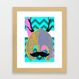 Moustache Antlers Framed Art Print