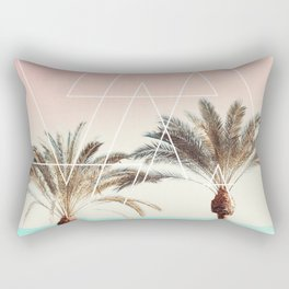 Modern tropical palm tree sunset pink blue beach photography white geometric triangles Rectangular Pillow