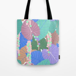 Elephant Ear Leaves + Sea Grapes in Muted Pastel Tote Bag