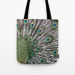 Green Peafowl Feathers Tote Bag