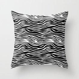 Black and White Zebra Stripes Pattern Throw Pillow