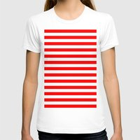 stripes T-shirts featuring Horizontal Stripes (Red/White) by 10813 Apparel