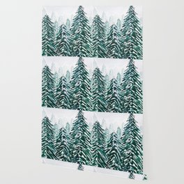 snowy pine forest in green Wallpaper