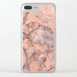 Pink Marbled Quartz Clear iPhone Case