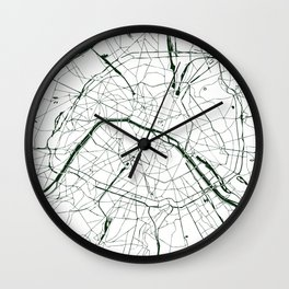 Paris France Minimal Street Map - Forest Green and White Wall Clock