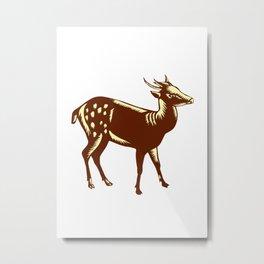 Philippine Spotted Deer Woodcut Metal Print