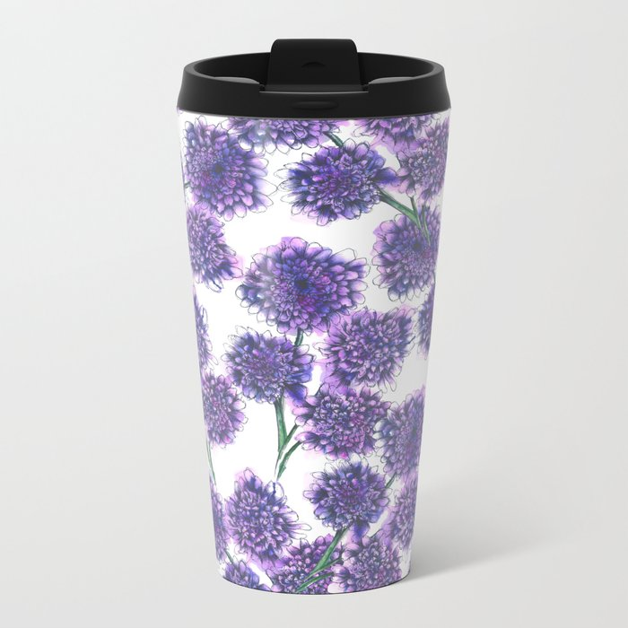Butterfly Blue Floral Pattern Metal Travel Mug