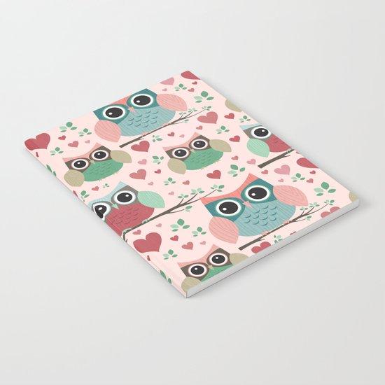 Owls in Love Pattern Notebook