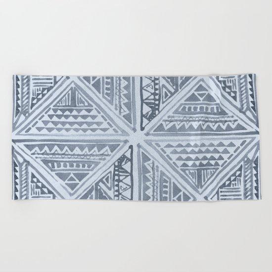Simply Tribal Tile in Indigo Blue on Sky Blue Beach Towel