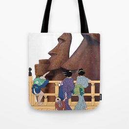 Hokusai People & Moai Tote Bag