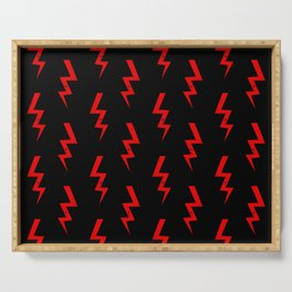 Lightning bolt fun pattern decor red and black boys room nursery superhero Serving Tray