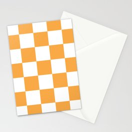 Large Light Orange Checkerboard Pattern Stationery Cards