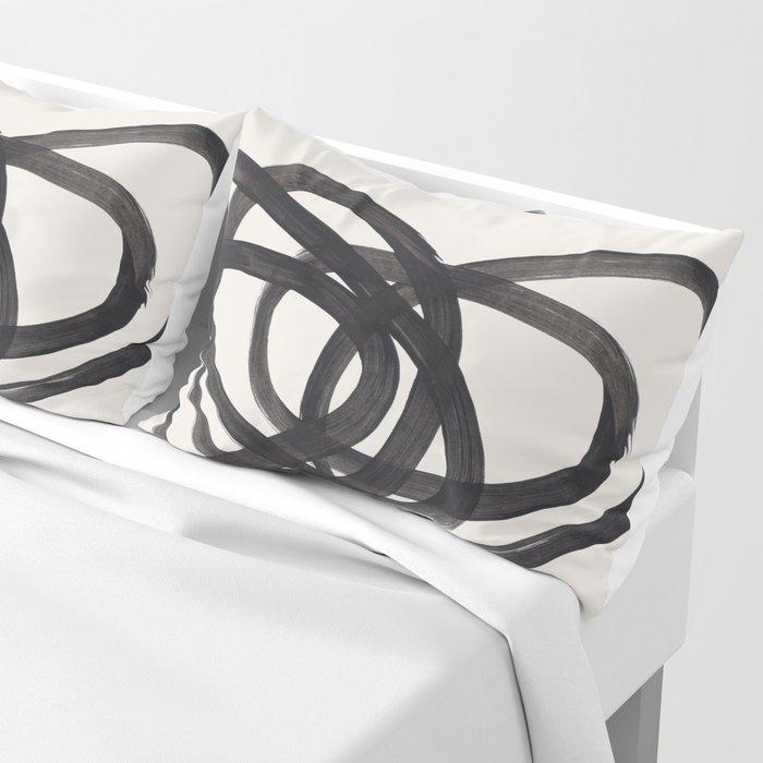 Mid Century Modern Minimalist Abstract Art Brush Strokes Black & White Ink Art Spiral Circles Kissenbezug