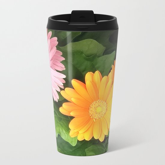 Summer Flowers Pink Yellow Orange Metal Travel Mug