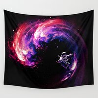surfing Wall Tapestries featuring Space Surfing by nicebleed