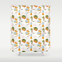 Retro Kitchen - Orange and Green Shower Curtain