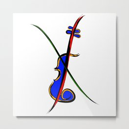 Fidlessia - half-coloured instrument Metal Print