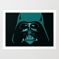 Tron Darth Vader Outline Art Print
