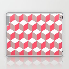 Diamond Repeating Pattern In Poppy and Soft Grey Laptop & iPad Skin