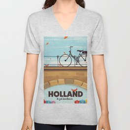 Holland Bicycle travel poster Unisex V-Neck