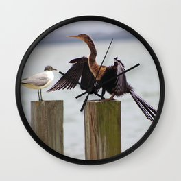 Anhinga Bird Drying Wings Wall Clock