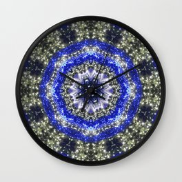 Happy Blues - blue and white kaleidoscope from lighted trees 1430 Wall Clock