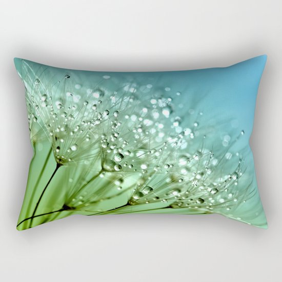 Aqua Sparkling dewdrops on a Dandelion- Flower Flowers Rectangular Pillow