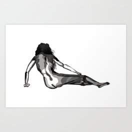 Reclining nude, black and white, woman, female Art Print