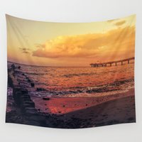 surfboard Wall Tapestries featuring Sundown at the sea by UtArt