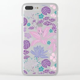 Purple and pink Japanese pond floral Clear iPhone Case
