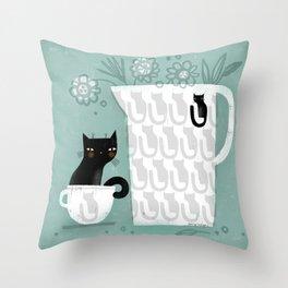 BLACK COFFEE CAT Throw Pillow