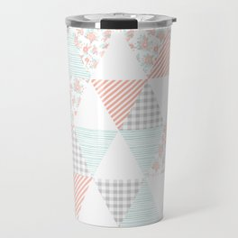 Quilt nursery cheater quilt minimal floral camping pattern modern color palette Travel Mug