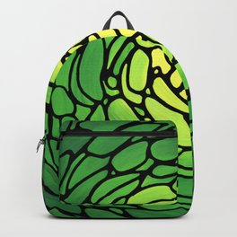 Green Petals - Abstract Flower Mosaic Art - Sharon Cummings Backpack