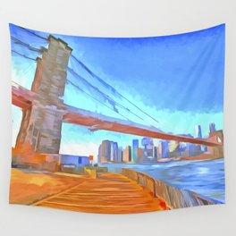 Brooklyn Bridge New York Pop Art Wall Tapestry